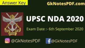 UPSC NDA 6 September 2020 Answer Key PDF ,