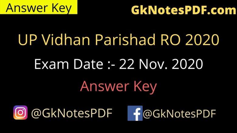 UP Vidhan Parishad RO 22 Nov. 2020 Answer Key