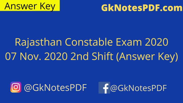 Rajasthan Constable Exam 07 Nov. 2020 2nd Shift