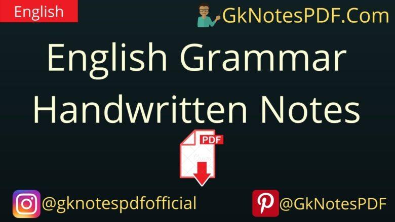 English Grammar Handwritten Notes PDF Download