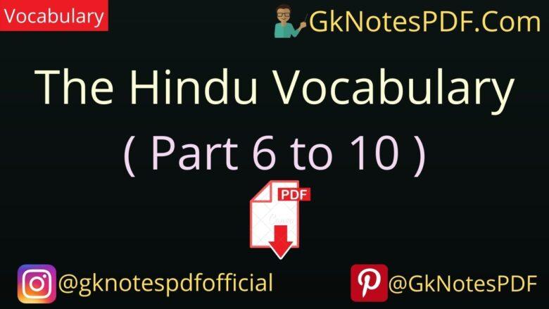 The Hindu Vocabulary PDF in Hindi
