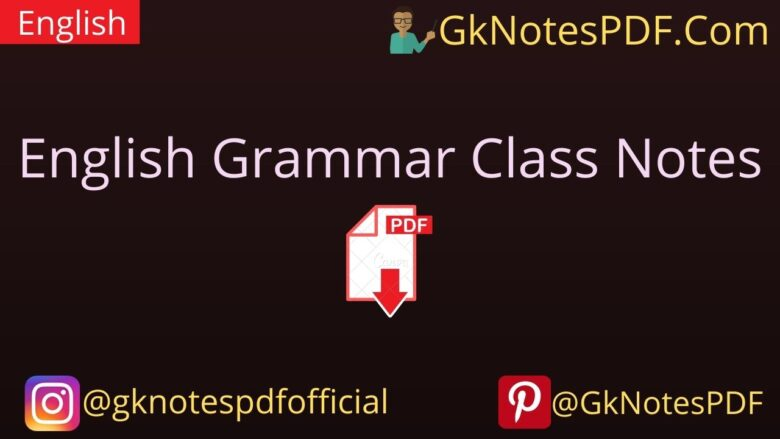 English Grammar Class Notes PDF