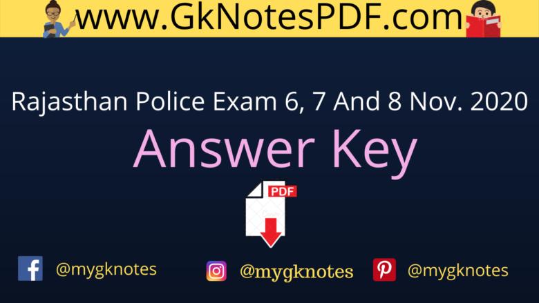 Rajasthan Police Constable Exam November 2020