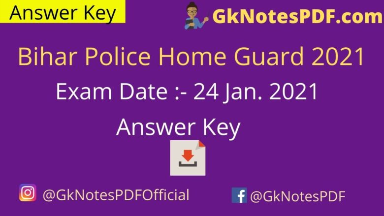 Bihar Police Home Guard Answer Key 2021