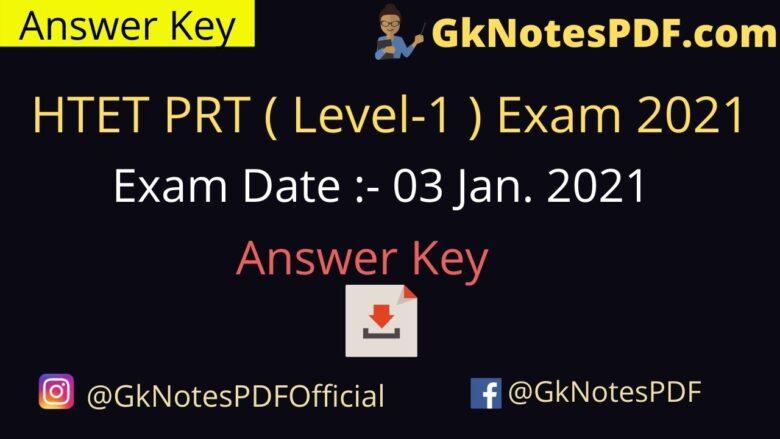 HTET PRT (Level-1) Exam 3 January 2021 Answer Key PDF