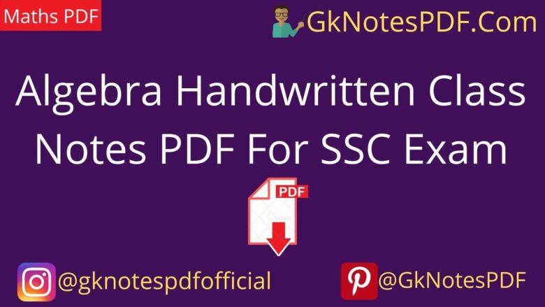 Algebra Handwritten Class Notes PD