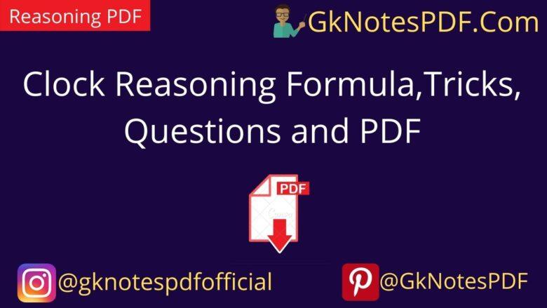 Clock Reasoning Formula,Tricks, Questions and PDF