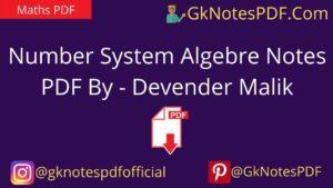 Number System Algebre Handwritten Notes PDF