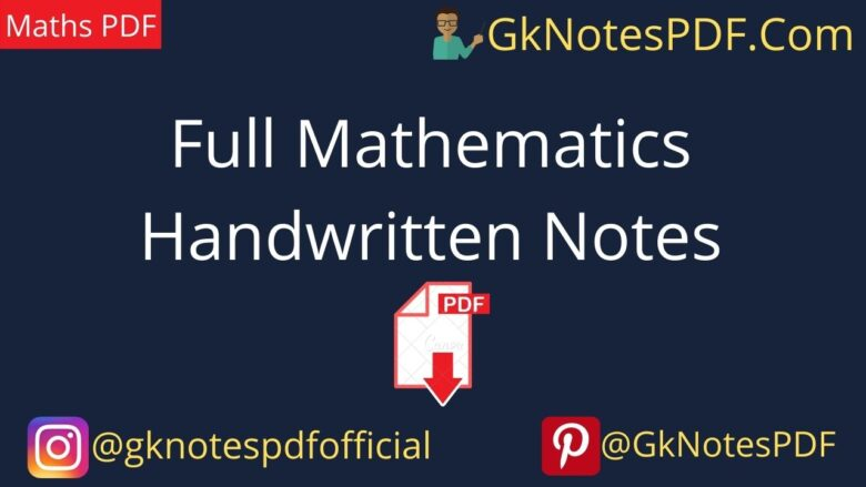 Full Mathematics Handwritten Notes in Hindi PDF