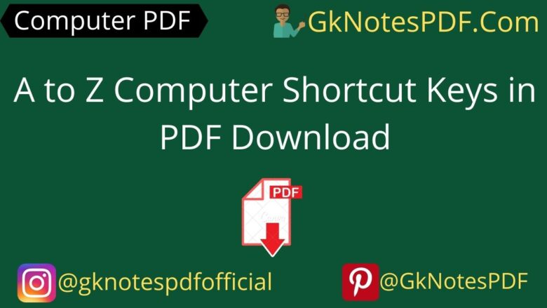 A to Z Computer Shortcut Keys in PDF Download