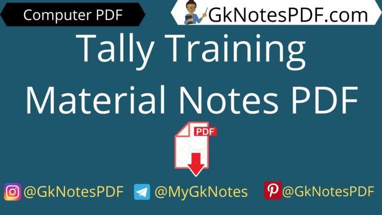 Tally Training Material Notes PDF in Hindi