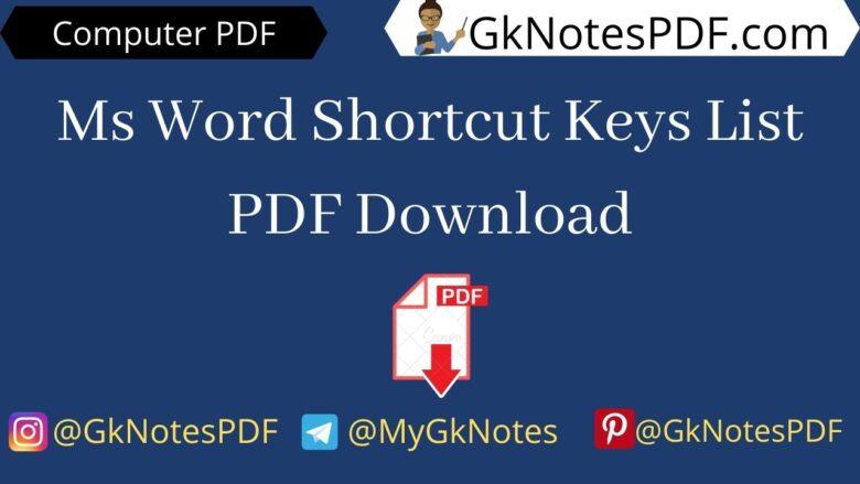 Ms Word Shortcut Keys List PDF