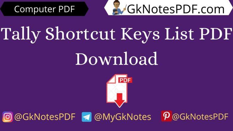 Tally Shortcut Keys List PDF