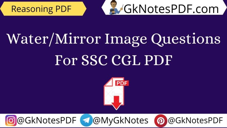 Water/Mirror Image Questions For SSC CGL PDF