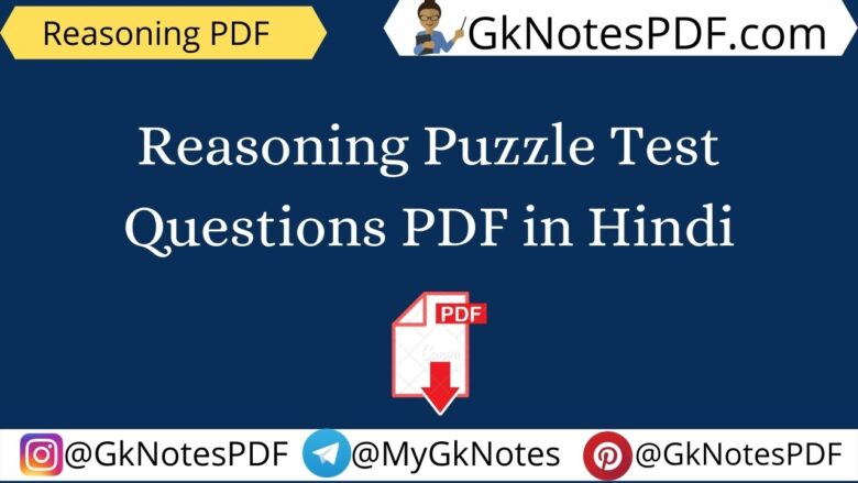Reasoning Puzzle Test Questions PDF