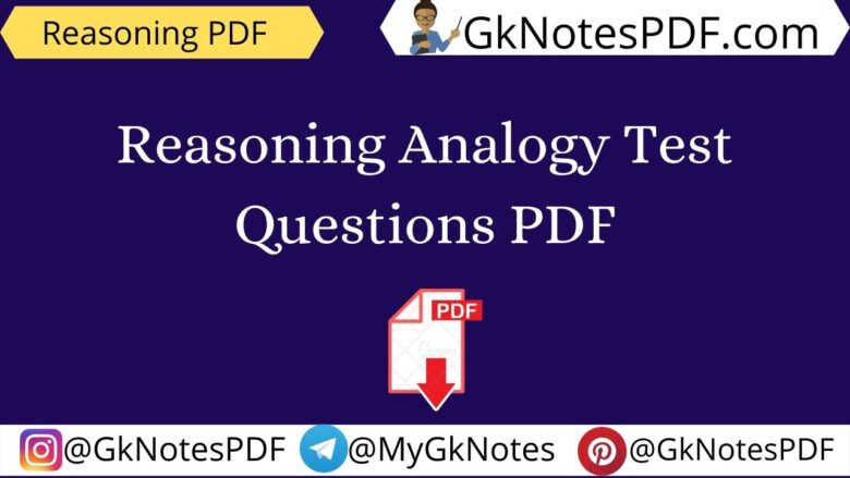 Reasoning Analogy Test Questions PDF