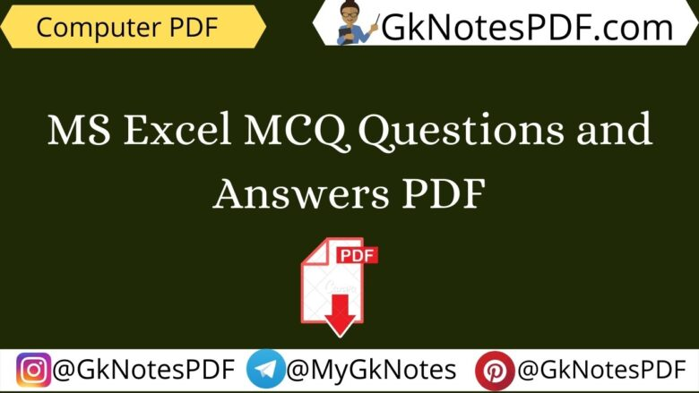 MS Excel MCQ Questions and Answers PDF